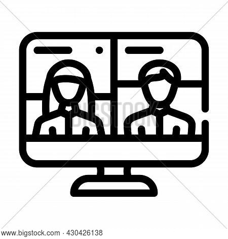 Video Conference Discussion Line Icon Vector. Video Conference Discussion Sign. Isolated Contour Sym