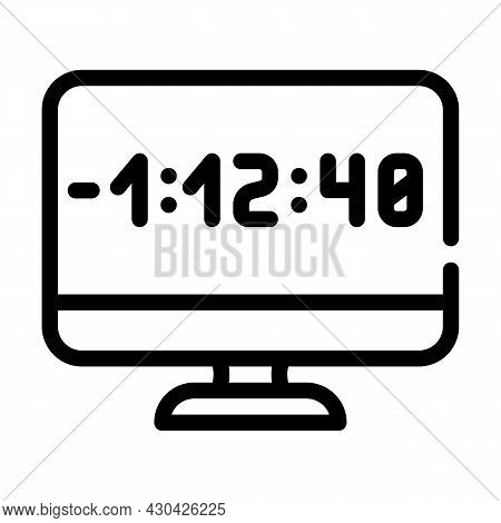 Countdown Video Conference Line Icon Vector. Countdown Video Conference Sign. Isolated Contour Symbo