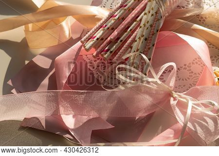 Top View Pink And Golden Colors Decor For Gender Reveal Party, Newborn Baby Shower Concept. Baby Gir