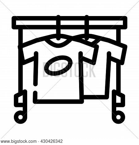 Wardrobe With Clothes For Actor Line Icon Vector. Wardrobe With Clothes For Actor Sign. Isolated Con