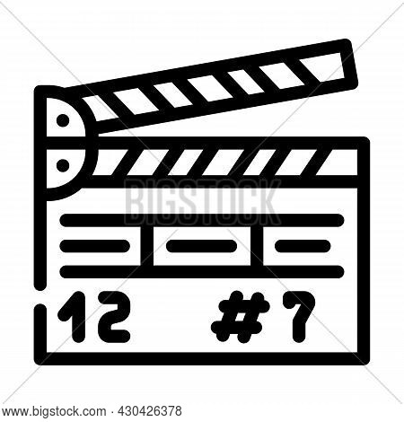 Clapperboard Tool Line Icon Vector. Clapperboard Tool Sign. Isolated Contour Symbol Black Illustrati