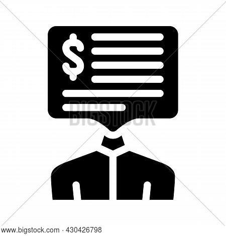 Salary Money Talks Glyph Icon Vector. Salary Money Talks Sign. Isolated Contour Symbol Black Illustr