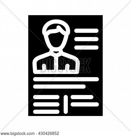 Application Form Cv Glyph Icon Vector. Application Form Cv Sign. Isolated Contour Symbol Black Illus
