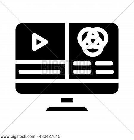 Video Color Correction Glyph Icon Vector. Video Color Correction Sign. Isolated Contour Symbol Black