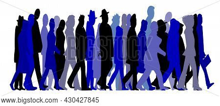 Abstract Of Various Types Of Folk Rushing Ahead And Isolated Over A White Background