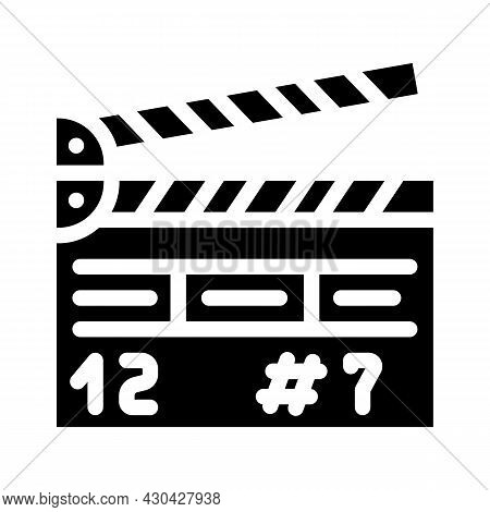 Clapperboard Tool Glyph Icon Vector. Clapperboard Tool Sign. Isolated Contour Symbol Black Illustrat