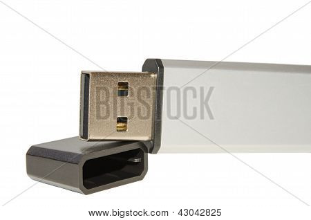 Closeup Open Usb Flash Drive With The Cover Cap