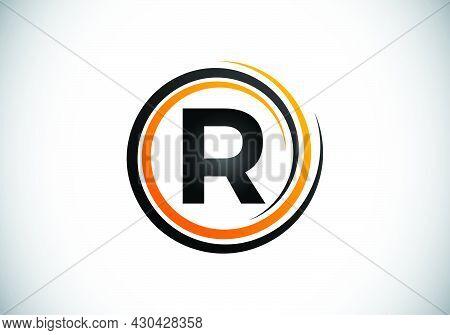 Initial R Monogram Alphabet In The Spiral. Swirl Spiral Infinity Logo Design. Font Emblem.  Modern V