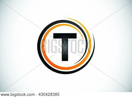 Initial T Monogram Alphabet In The Spiral. Swirl Spiral Infinity Logo Design. Font Emblem.  Modern V