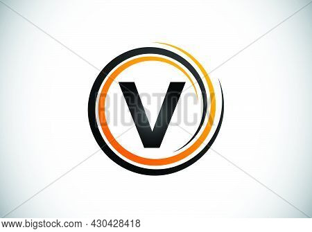 Initial V Monogram Alphabet In The Spiral. Swirl Spiral Infinity Logo Design. Font Emblem.  Modern V