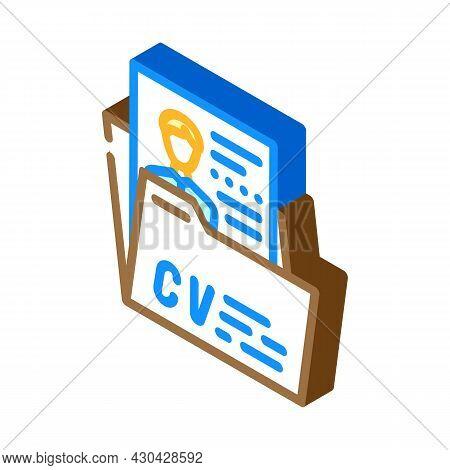Personal Profile Cv Isometric Icon Vector. Personal Profile Cv Sign. Isolated Symbol Illustration