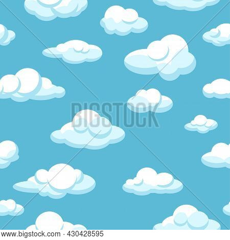 White Clouds Seamless Pattern On Blue Background. Blue Sunny Sky. Vector Illustration. Design Elemen