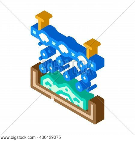 Chemical Treatment Solid Waste Isometric Icon Vector. Chemical Treatment Solid Waste Sign. Isolated