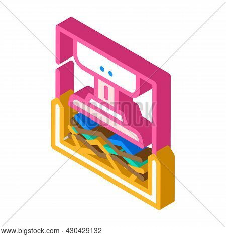 Pressing Solid Waste Isometric Icon Vector. Pressing Solid Waste Sign. Isolated Symbol Illustration