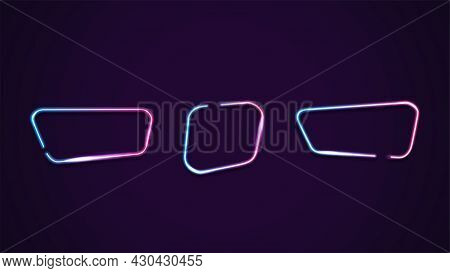 Set Of Asymmetric Geometric Gradient Neon Frames Isolated For Your Arts. Pink And Blue Frames With C