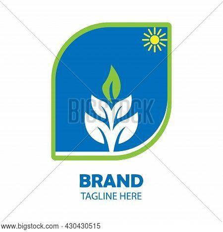 Simple Vector Illustration Of A Green Leafy Plant, Yellow Anger In The Corner, On A Blue Background