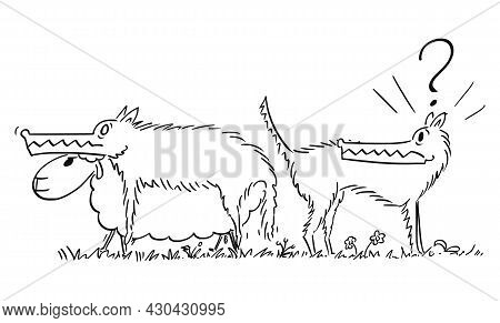 Shocked Wolf Looking At Sheep In Wolfs Clothing, Vector Cartoon Illustration