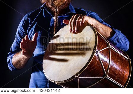 Closeup Male Hands Are Drumming On Ethnic Rhythm Percussion Musical Instrument Jembe. Drummer Is Pla