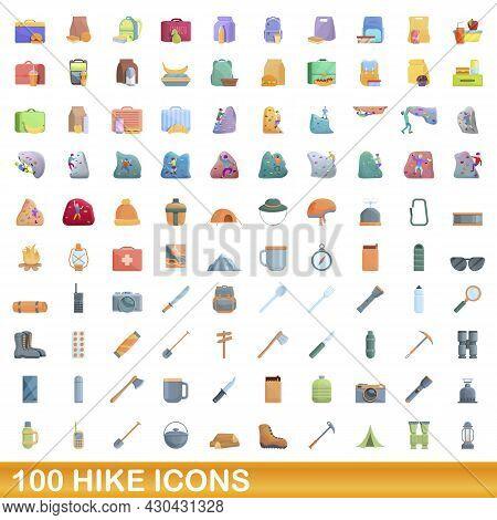 100 Hike Icons Set. Cartoon Illustration Of 100 Hike Icons Vector Set Isolated On White Background