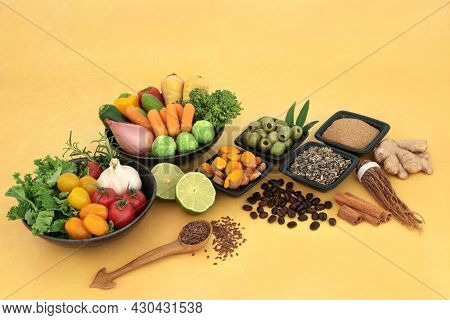 Healthy food for low cholesterol vegan diet high in protein, omega 3, vitamins, minerals, antioxidants, anthocyanins, fibre, herbal medicine. Natural sustainable, save the planet concept.