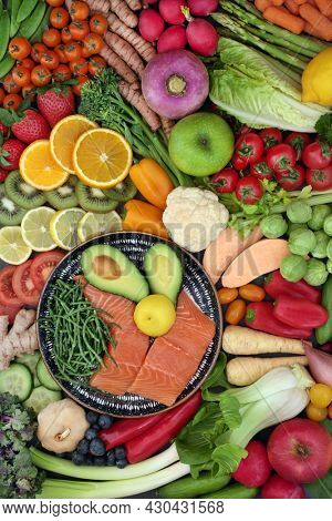 Flexitarian health food collection, foods high in protein, omega 3, antioxidants, anthocyanins, minerals, vitamins, dietary fibre, lycopene and  smart carbs. Healthy planet concept. Top view.
