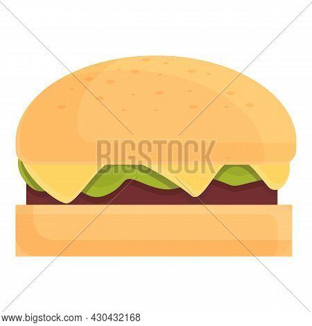 American Burger Icon Cartoon Vector. Hamburger Bun. Restaurant Cheeseburger