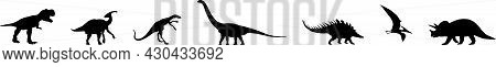 Vector Silhouette Of Different Types Of Jurassic Dinosaurs.
