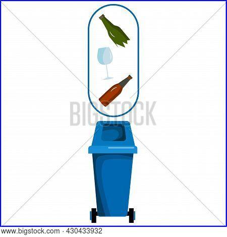 A Blue Dumpster. Recycling Of Glass. A Dumpster.
