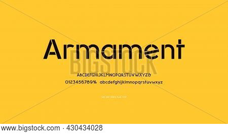 Stencil-plate Sans Serif Letters Font In Classic Military Style For Logo And Headline Design. Simple