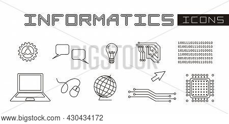 A Set Of Linear Isolated Elements For Informatics. Microprocessor, Circuit, Laptop And Other High-te