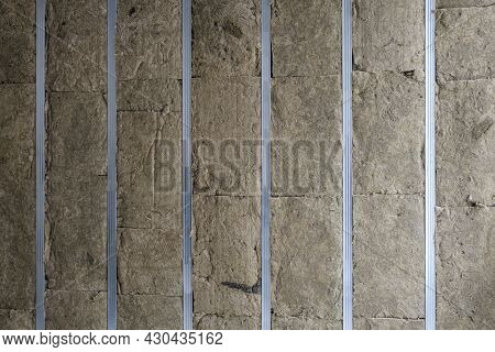 Partition Frame Or Walls Made Of Light Metal Profiles Insulated With Mineral Wool Slabs For Cladding