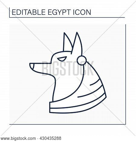 Anubis Line Icon. Death God. Canine Or A Man With A Canine Head. Guardian Of Graves And Mummies. Egy