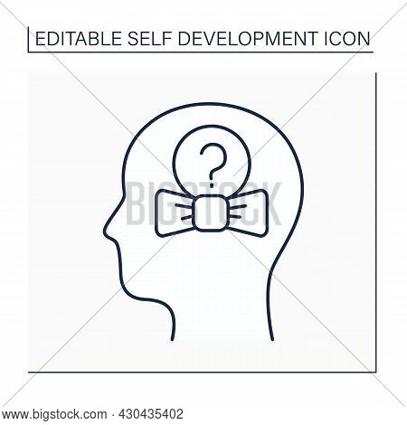Self-concept Line Icon. System Of Personal Ideas About Himself. Physical Awareness, Intellectual Nat
