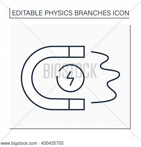 Magnetism Line Icon. Electric Charges Motion. Attract Charged Bodies To Magnet. Electromagnetism. Ph