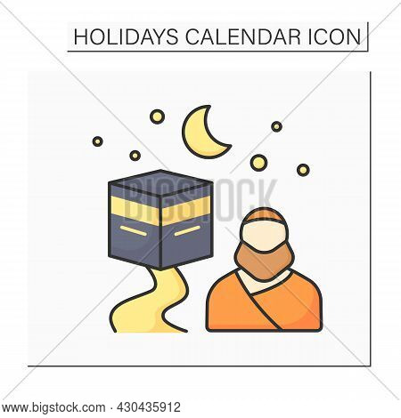 Hajj Color Icon. Muslim Pilgrimage To Mecca In Saudi Arabia. Journey To Sacred Place. Holidays Calen