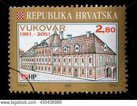 ZAGREB, CROATIA - SEPTEMBER 13, 2014: A stamp printed in Croatia shows Eltz Manor in Vukovar, circa 2001