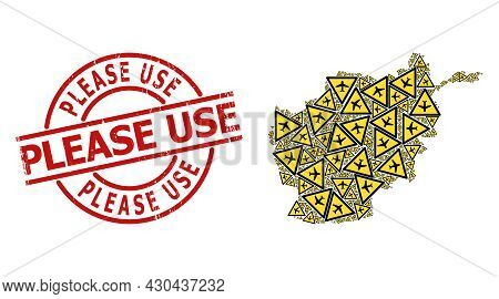 Rubber Please Use Stamp Seal, And Airplane Warning Collage Of Afghanistan Map. Red Round Stamp Seal