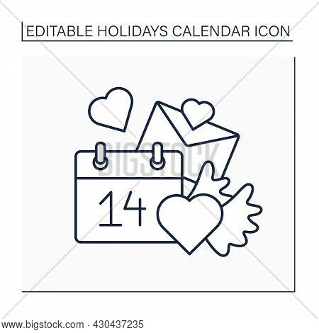 Valentines Day Line Icon. February 14. Couples Celebrate Love Holidays. Romantic Dates. Love Story.