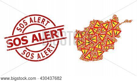Distress Sos Alert Stamp, And Exclamation Alert Collage Of Afghanistan Map. Red Round Stamp Has Sos