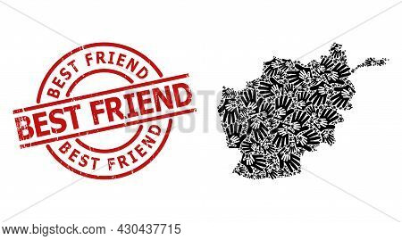 Grunge Best Friend Badge, And Friend Hands Mosaic Of Afghanistan Map. Red Round Badge Contains Best