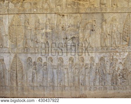 Bas-relief On Wall Of Palace Apadana In Persepolis, Ex-capital Of Ancient Persia (near Shiraz, Iran)