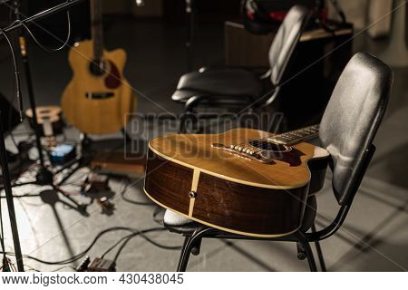 Musical Instruments On Stage Without Musicians. Concert Cancellation Empty Stage Abandoned Instrumen