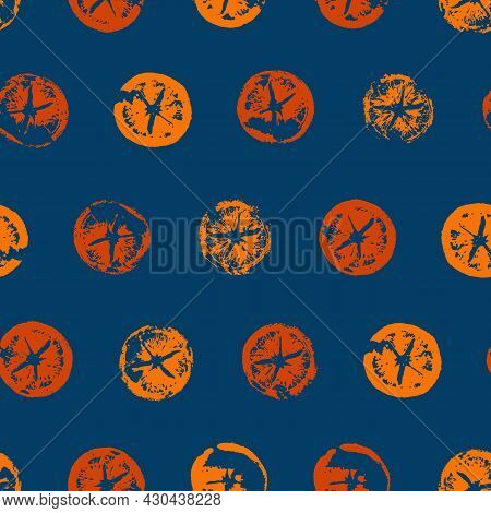 Seamless Pattern Of Orange Slices Print In Modern Style. Hand Drawn Vector Illustration Of Cutaway T