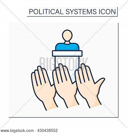 Democracy Color Icon.government Form.power Vested In People. Exercised Directly By People Or Through