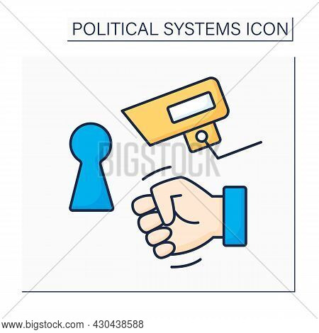 Totalitarian Regime Color Icon.total Control Economy, Censorship, Surveillance, Limited Freedom Of M
