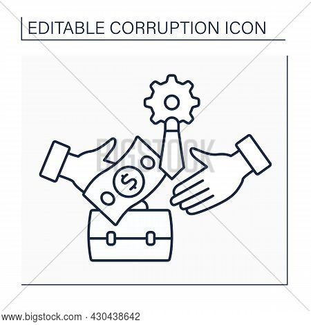 Facilitation Payment Line Icon. Induce Officials To Perform Routine Functions With Intention Of Expe