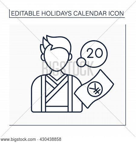 Age Day Line Icon. Second Monday Of January.event For 20 Years Old Citizen.meeting In Government Bui