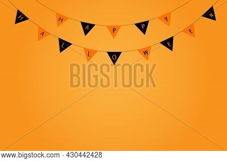 Halloween Party Flags Concept. Text On Orange And Black Flags With Orange Background. Illustration F