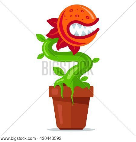 Carnivorous Plant In A Pot. Predatory Flower With Teeth. Flat Vector Illustration.