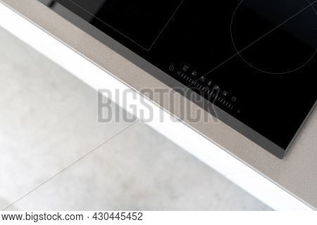 Integrated Ceramic Induction Stove Attached To Kitchen Counter, Control Panel With Marked Touch Cont